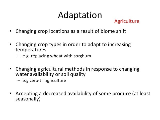 Adaptation • Changing crop locations as a result of biome shift • Changing crop types in order to adapt to increasing temp...