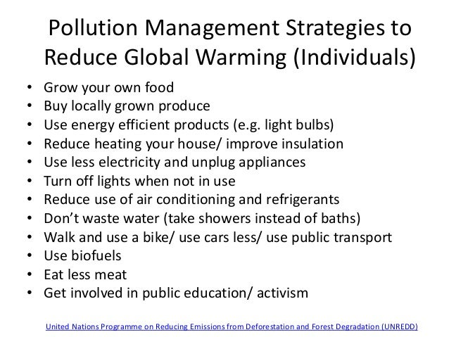 Pollution Management Strategies to Reduce Global Warming (Individuals) • Grow your own food • Buy locally grown produce • ...