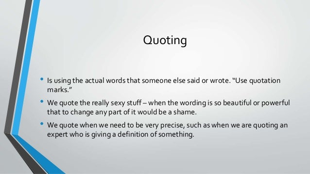 how to quote what someone said in an essay
