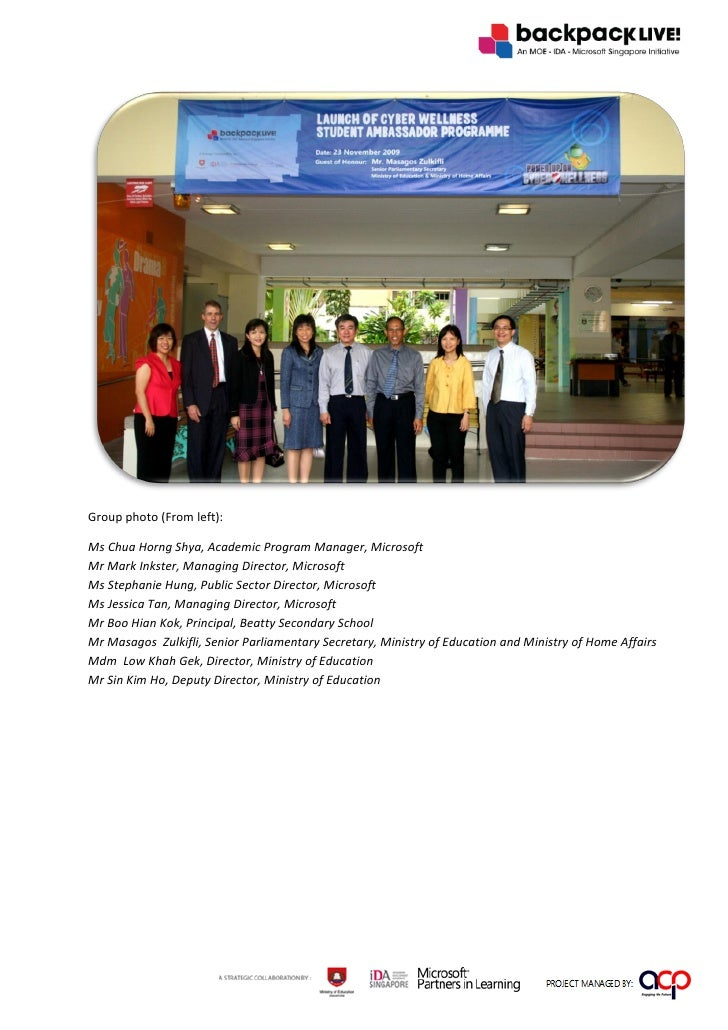 Group photo (From left):  Ms Chua Horng Shya, Academic Program Manager, Microsoft Mr Mark Inkster, Managing Director, Micr...