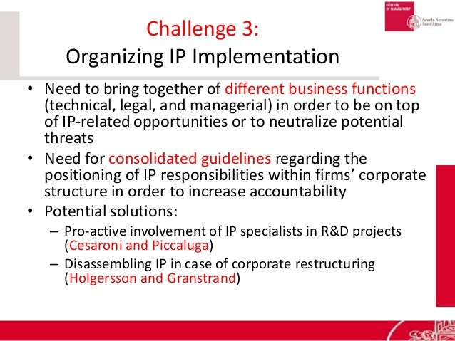 Challenge 3: Organizing IP Implementation • Need to bring together of different business functions (technical, legal, and ...