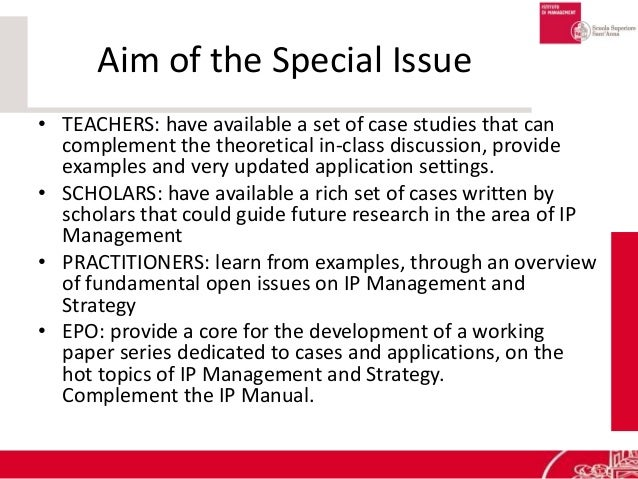 Aim of the Special Issue • TEACHERS: have available a set of case studies that can complement the theoretical in-class dis...