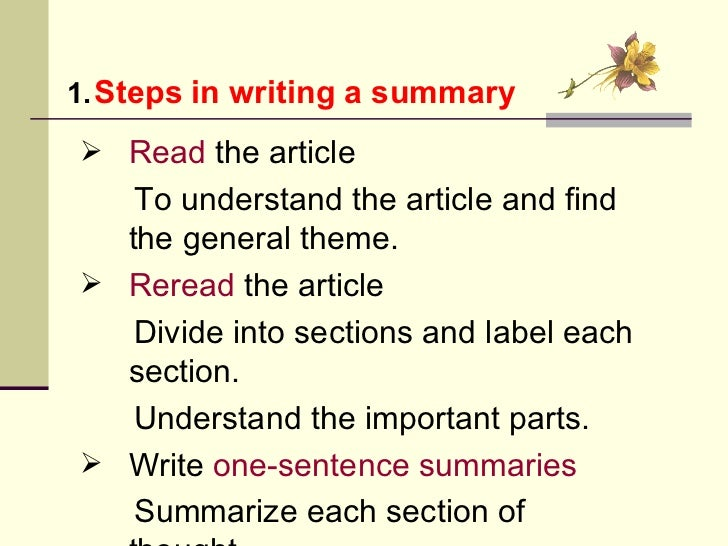 what is summary writing