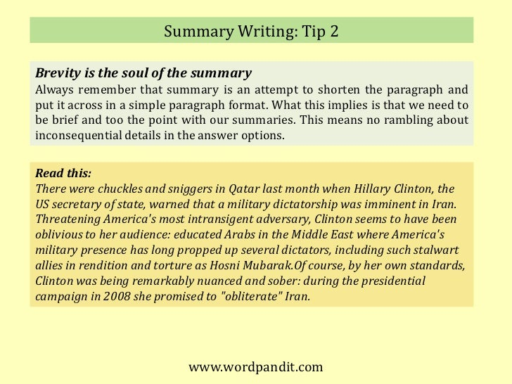 meaning of summary writing