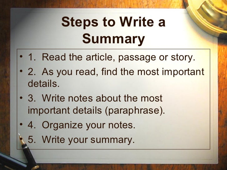 How to write summary essay