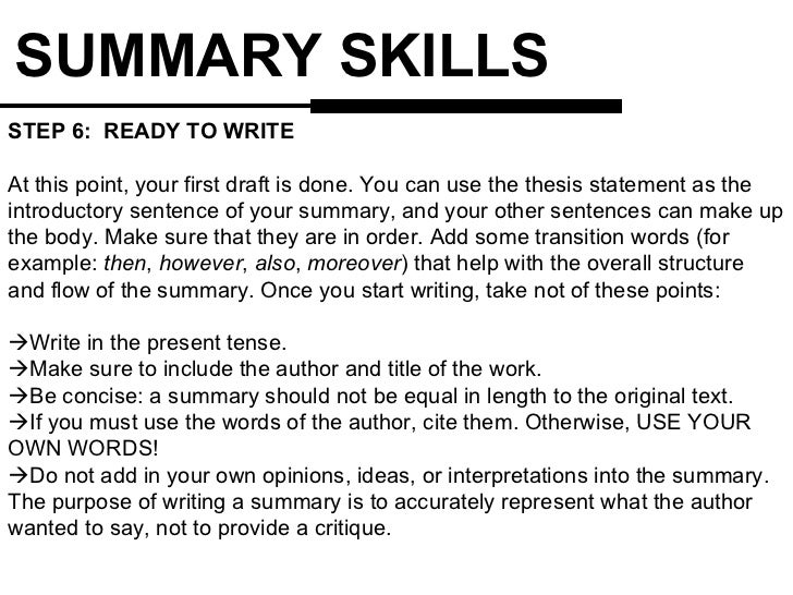 Help for writing summary