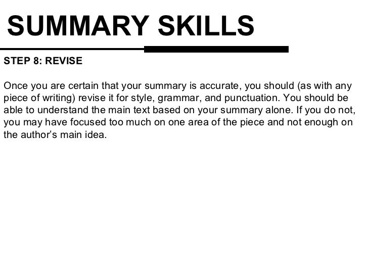 9. SUMMARY SKILLS ...  Examples Of Skills