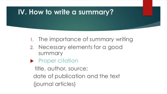 tips for writing a summary