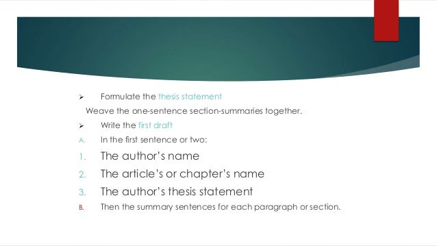 techniques in formulating thesis statement Compose a draft thesis statement if you are writing a paper that will have an argumentative thesis and are having trouble getting started, the techniques in the.