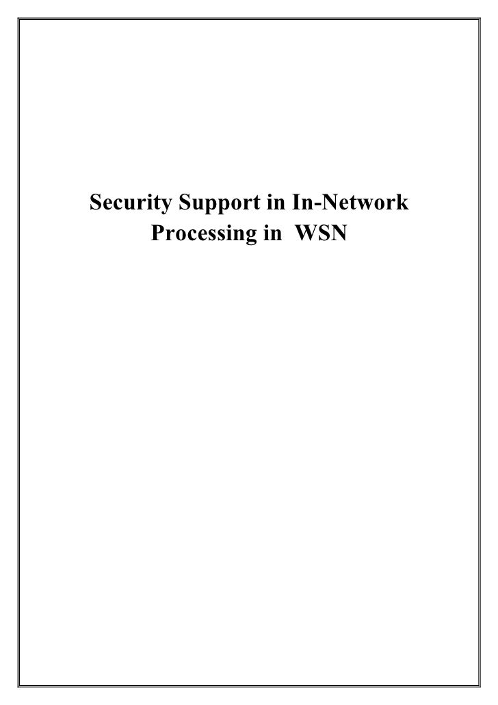 Security Support in In-Network       Processing in WSN