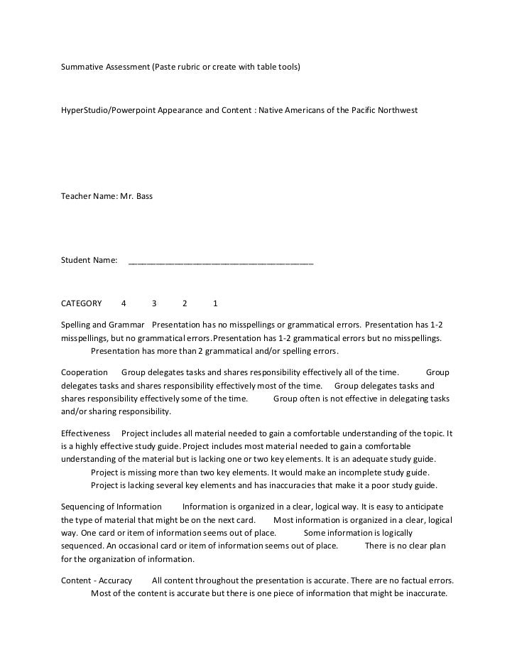 Summative Assessment (Paste rubric or create with table tools)HyperStudio/Powerpoint Appearance and Content : Native Ameri...