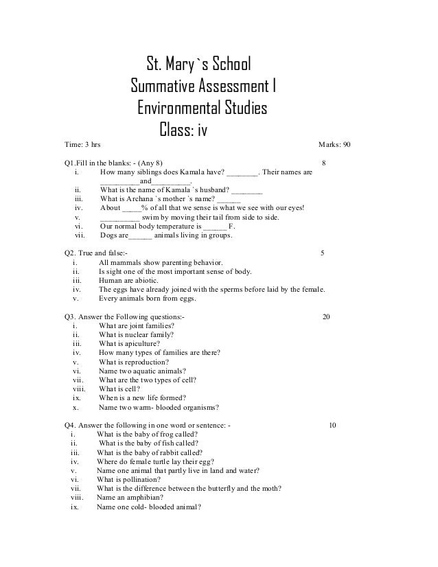 summative assessment 1 sample paper class 4