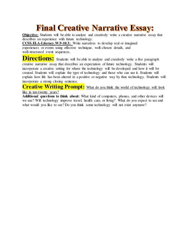Summative creative narrative essay