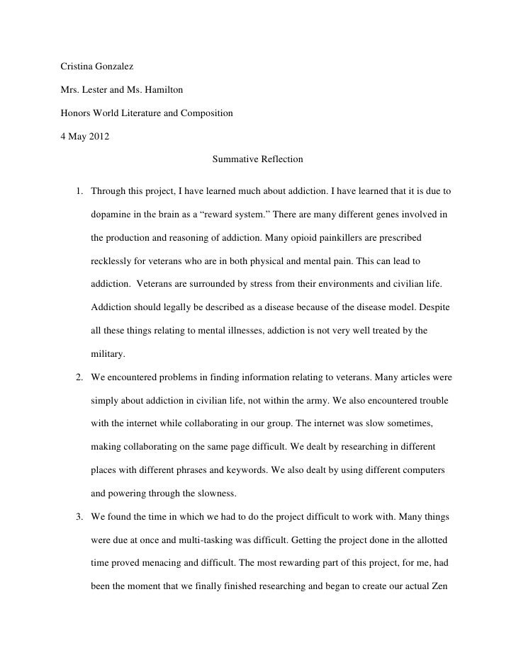 Cristina GonzalezMrs. Lester and Ms. HamiltonHonors World Literature and Composition4 May 2012                            ...
