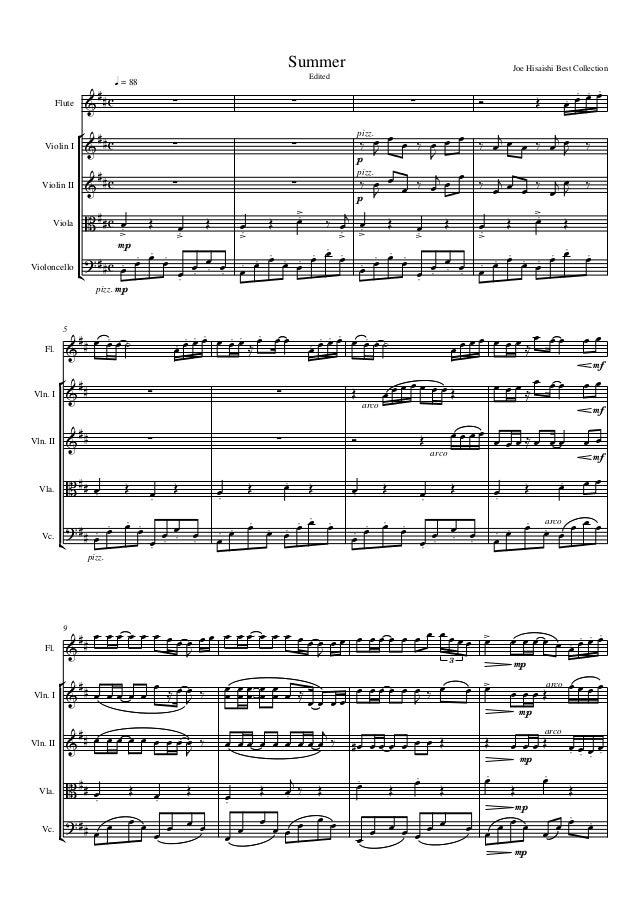      q = 88 Summer Edited Joe Hisaishi Best Collection Flute Violin I Violin II Viola Violoncello          ...