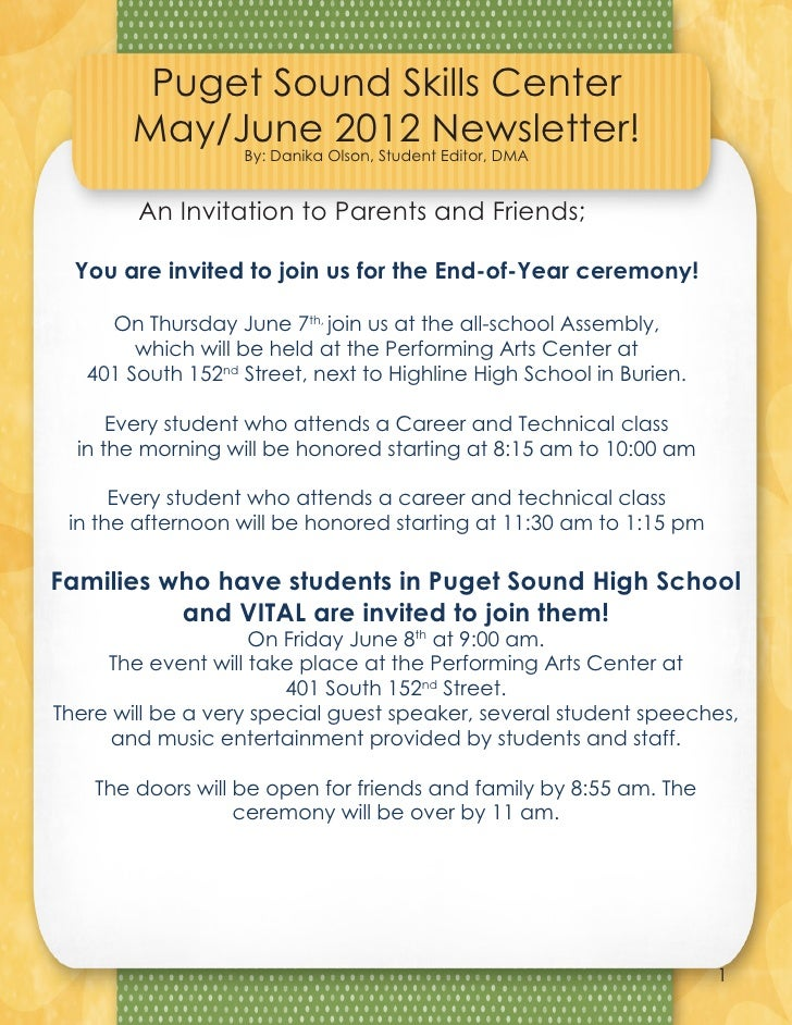 Puget Sound Skills Center            May/June 2012 Newsletter!                       By: Danika Olson, Student Editor, DMA...
