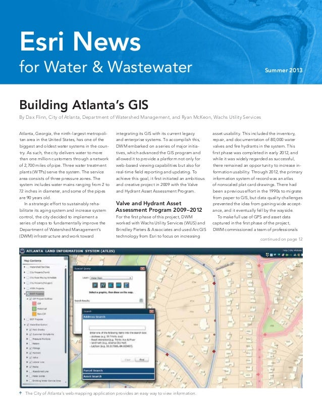 continued on page 12 for Water & Wastewater Summer 2013 Esri News Atlanta, Georgia, the ninth-largest metropoli- tan area ...