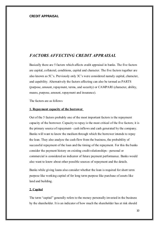 credit appraisal techniques in banks Among all departments in commercial banks, the credit/ advances  (i) book on  balance sheet analysis and credit appraisal (ii) book on cash budget method of.