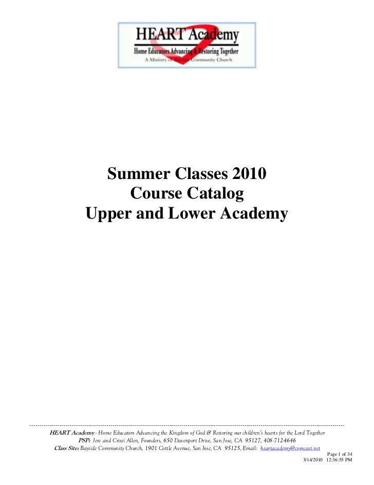 Summer Classes 2010                                 Course Catalog                            Upper and Lower Academy     ...