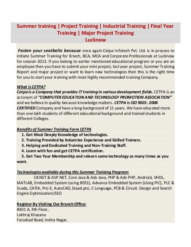 Summer training | Project Training | Industrial Training | Final Year                Training | Major Project Training    ...