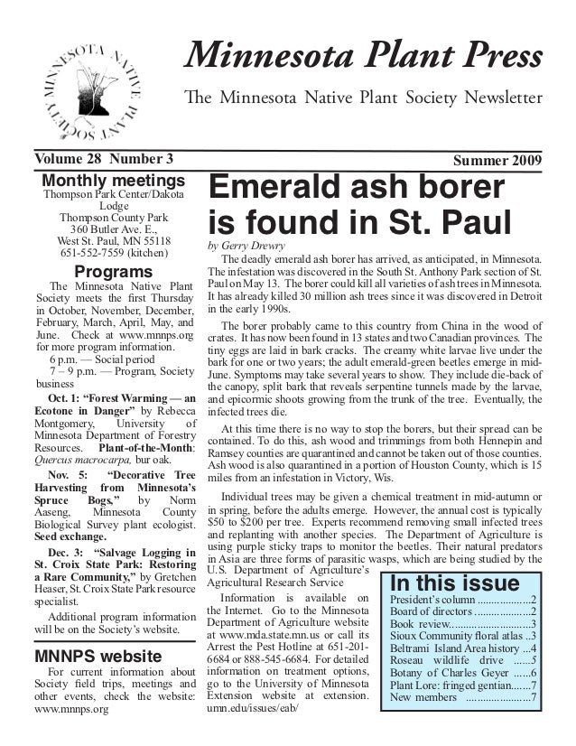 Minnesota Plant Press                                  The Minnesota Native Plant Society NewsletterVolume 28 Number 3    ...