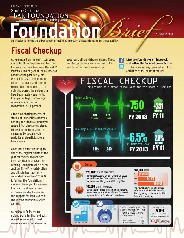 Foundation A Newsletter from the Our mission is to fund the advancement of justice by improving access, education and acco...