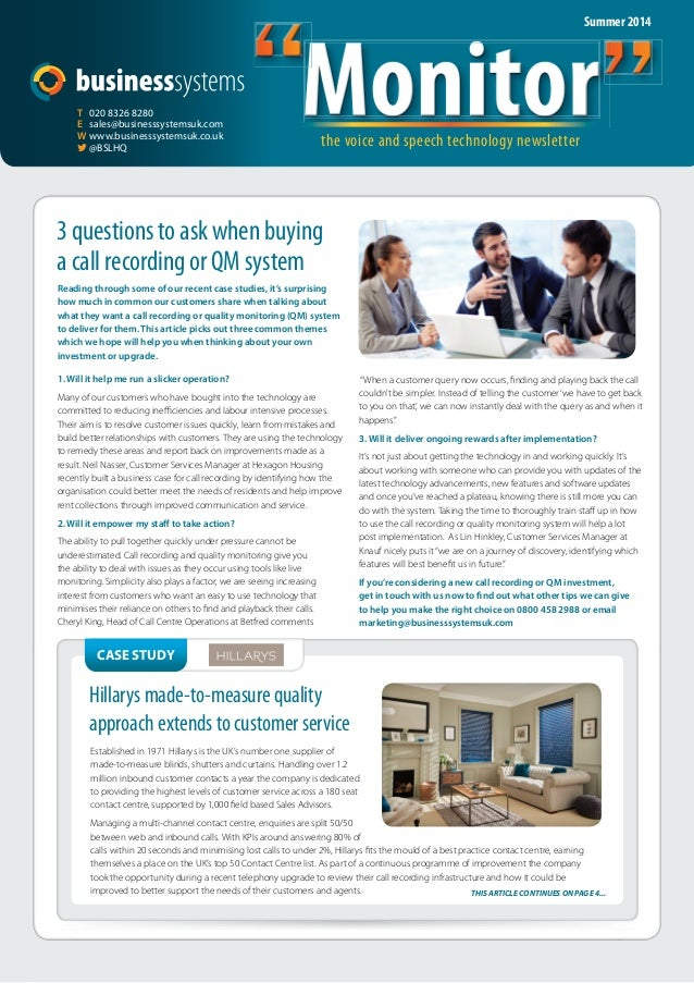"""Monitor the voice and speech technology newsletter """"Monitor""""  T 020 8326 8280  E sales@businesssystemsuk.com  W www.busine..."""