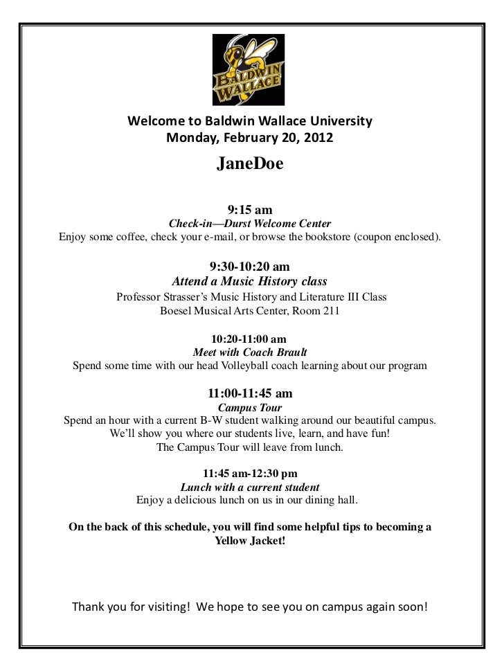 Welcome to Baldwin Wallace University                   Monday, February 20, 2012                                 JaneDoe ...