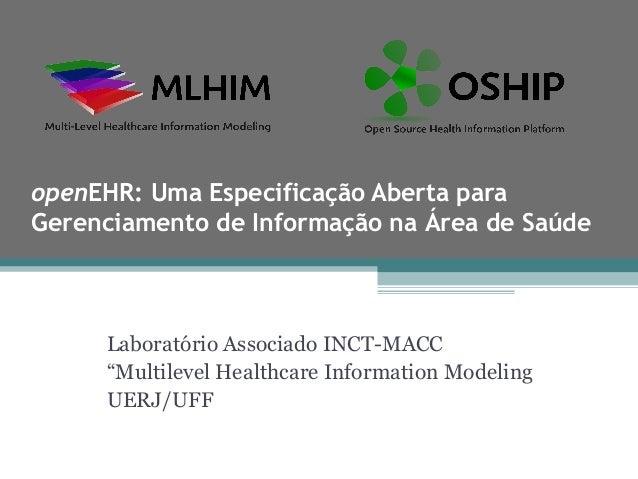openEHR: Uma Especificação Aberta paraGerenciamento de Informação na Área de Saúde     Laboratório Associado INCT-MACC    ...