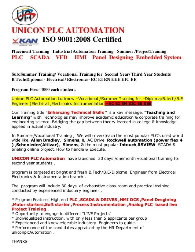 UNICON PLC AUTOMATION ISO 9001:2008 Certified Placement Training Industrial Automation Training Summer /ProjectTraining PL...