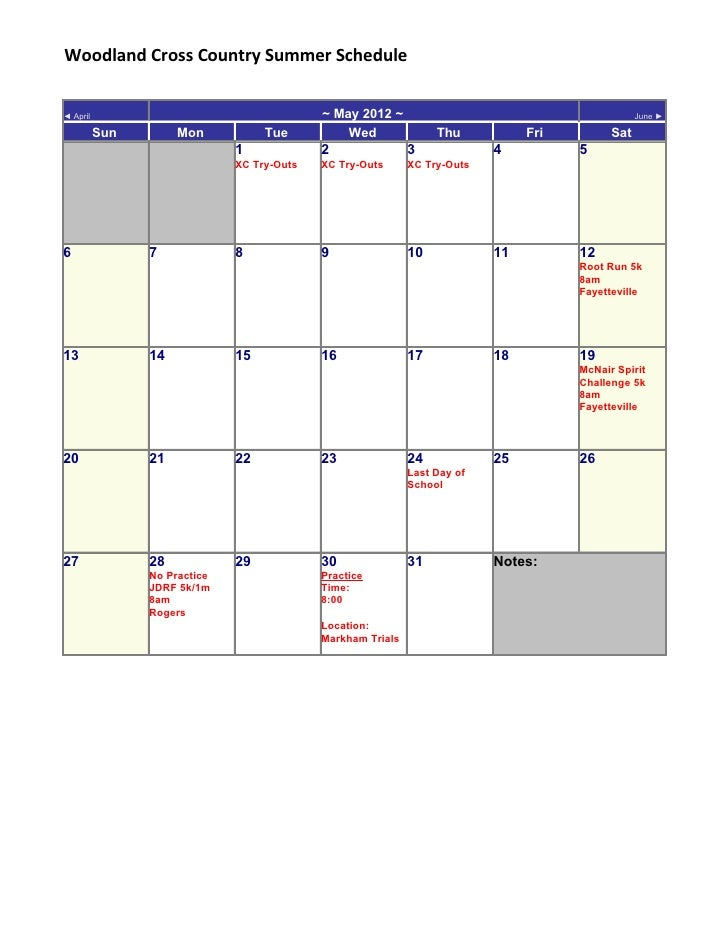 Woodland Cross Country Summer Schedule◄ April                                     ~ May 2012 ~                            ...
