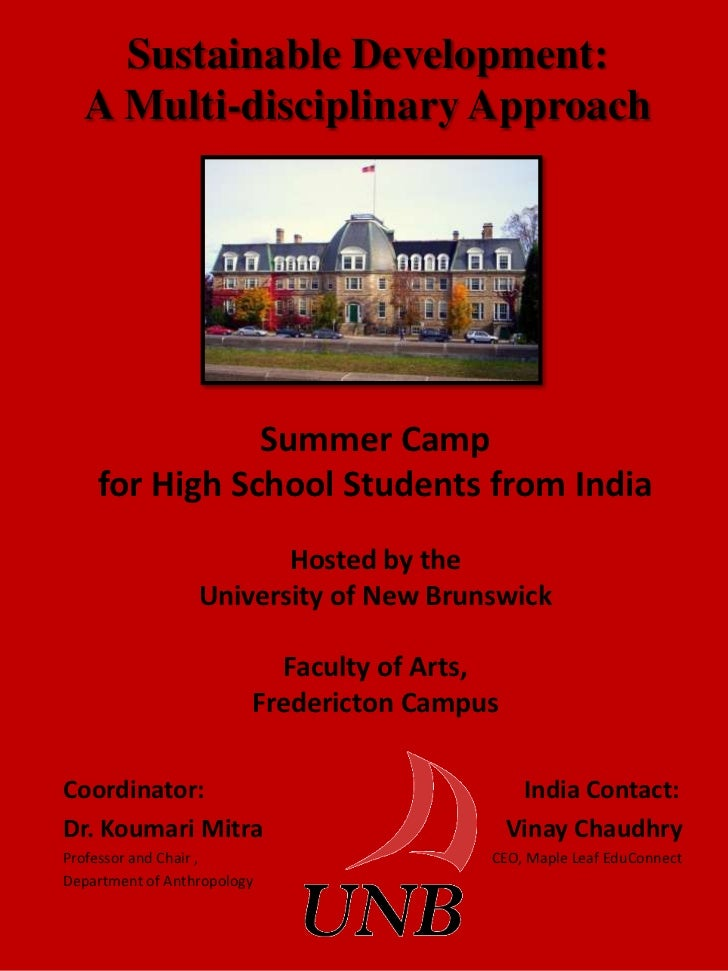 Sustainable Development:  A Multi-disciplinary Approach               Summer Camp    for High School Students from India  ...