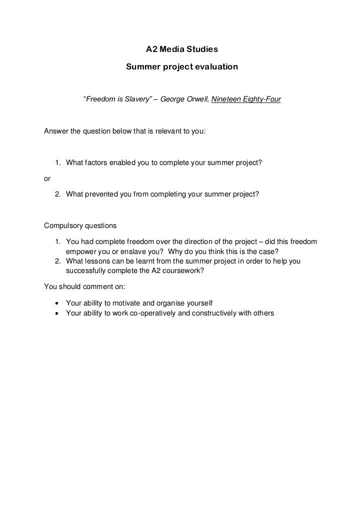 """A2 Media Studies<br />Summer project evaluation<br />""""Freedom is Slavery"""" – George Orwell, Nineteen Eighty-Four<br />Answe..."""