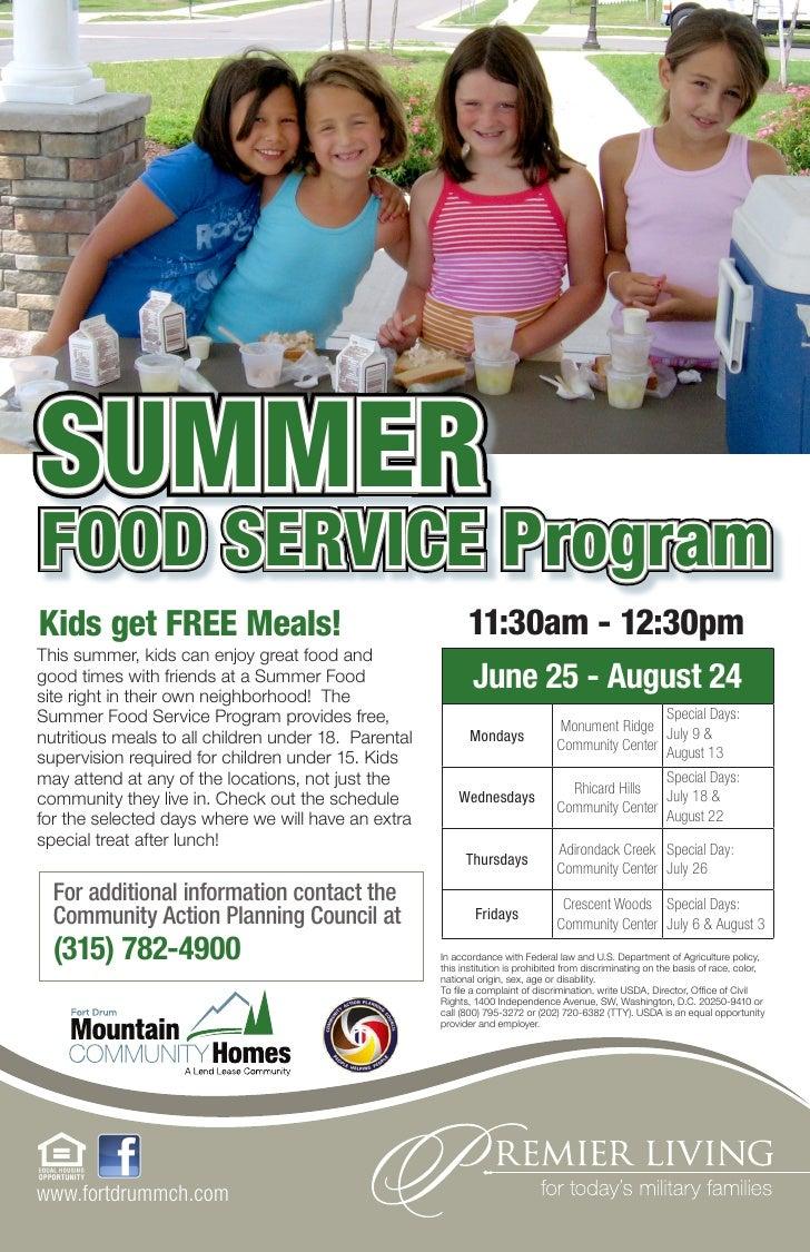 SUMMERFOOD SERVICE ProgramKids get FREE Meals!                                        11:30am - 12:30pmThis summer, kids c...