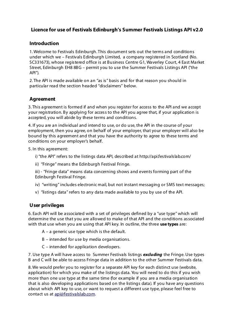 Licence for use of Festivals Edinburgh's Summer Festivals Listings API v2.0Introduction1. Welcome to Festivals Edinburgh. ...