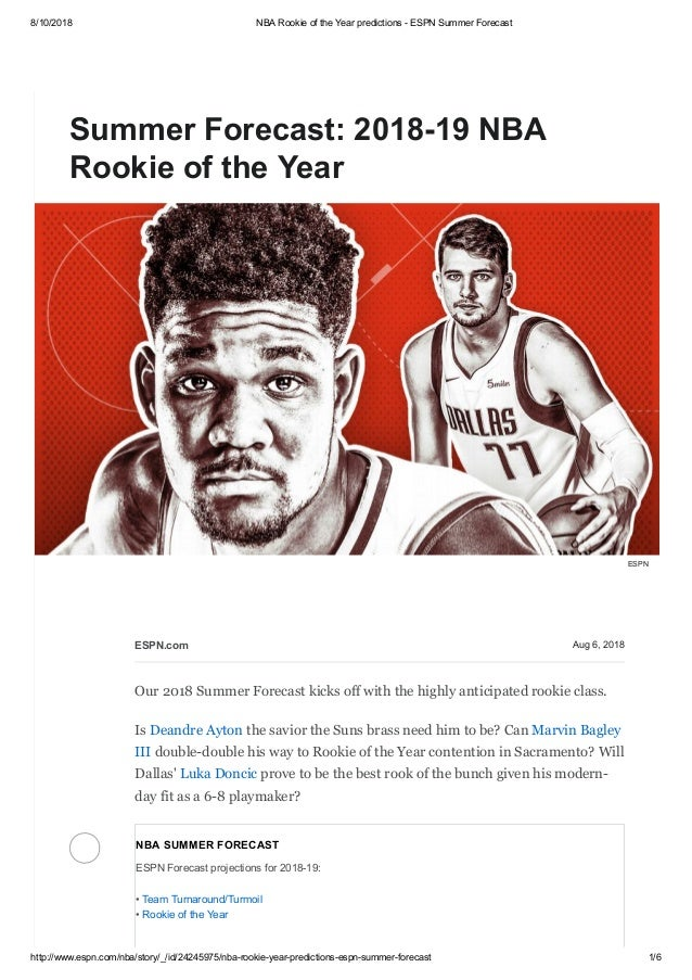 4592a37dbc8a Summer forecast 2018 19 nba rookie of the year
