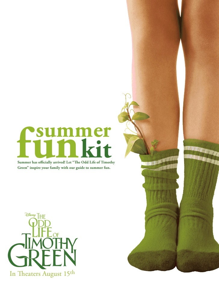 """summer  fun kit  Summer has officially arrived! Let """"The Odd Life of Timothy  Green"""" inspire your family with our guide to..."""