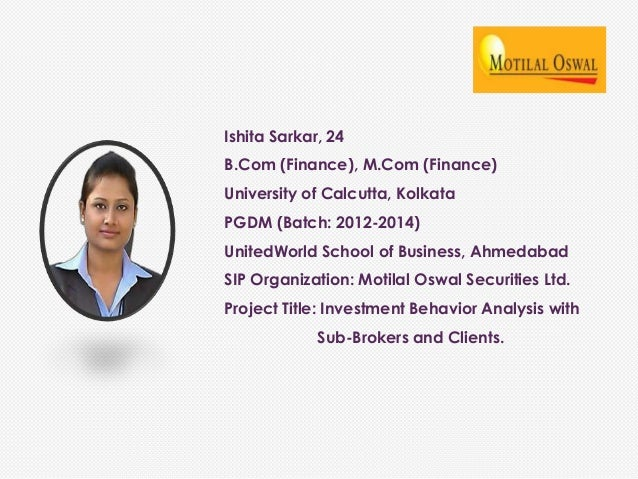 Project Report on Motilal Oswal Finance Ltd