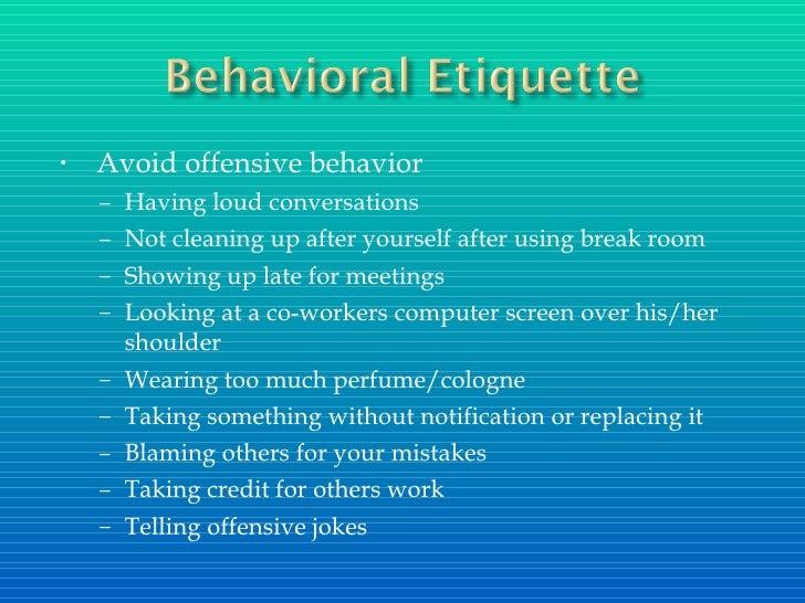 Summer internship etiquette presentation