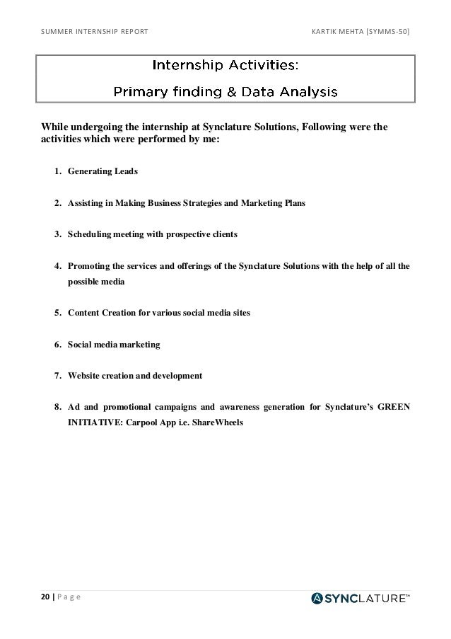 Internship report on social media marketing Homework Service ...