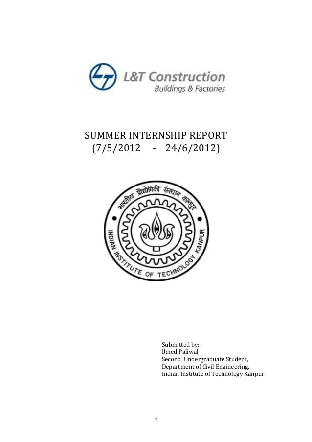 Summer Internship Report L Amp T