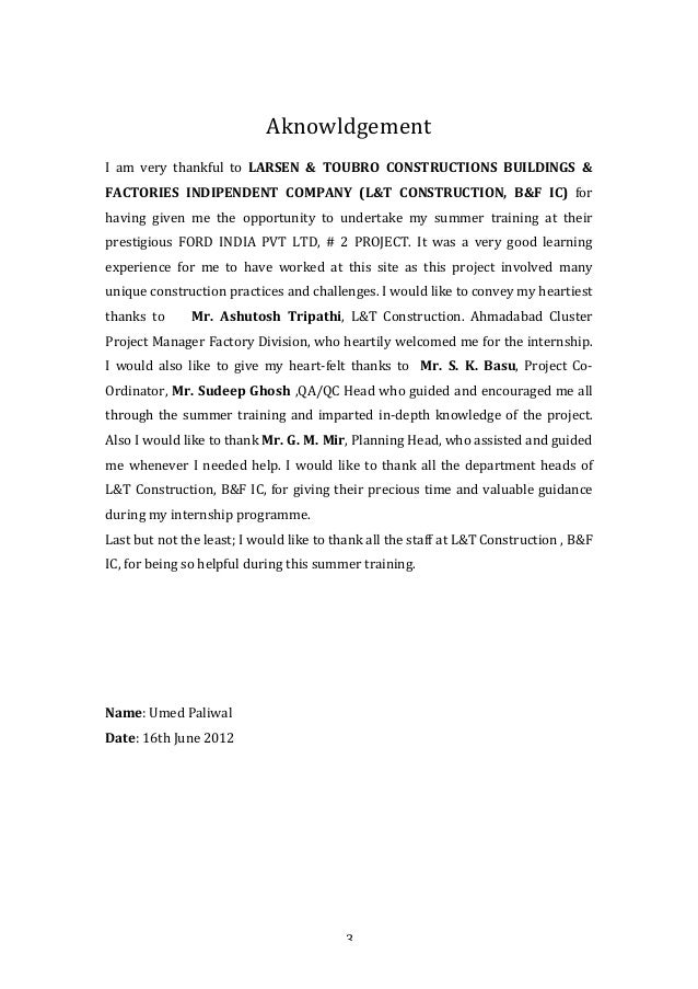 internship report l t A report on summer internship in larsen & toubro ltd submitted to: the bba programme faculty of commerce ms university vadodara submitted by: milka sebastian (92.