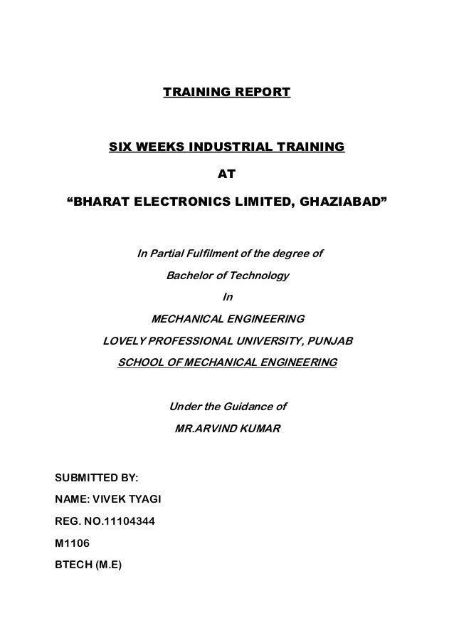 bharat electronics limited ghaziabad summer training report