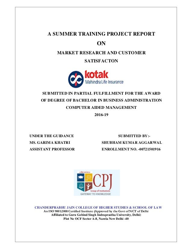 Summer Internship Taining Project Report Kotak Life Insurance