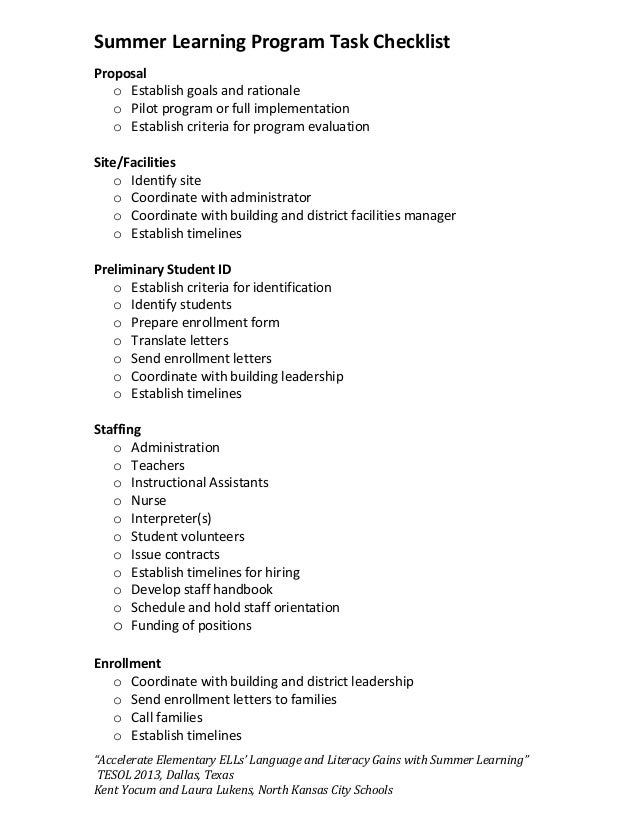 summer learning program task checklist