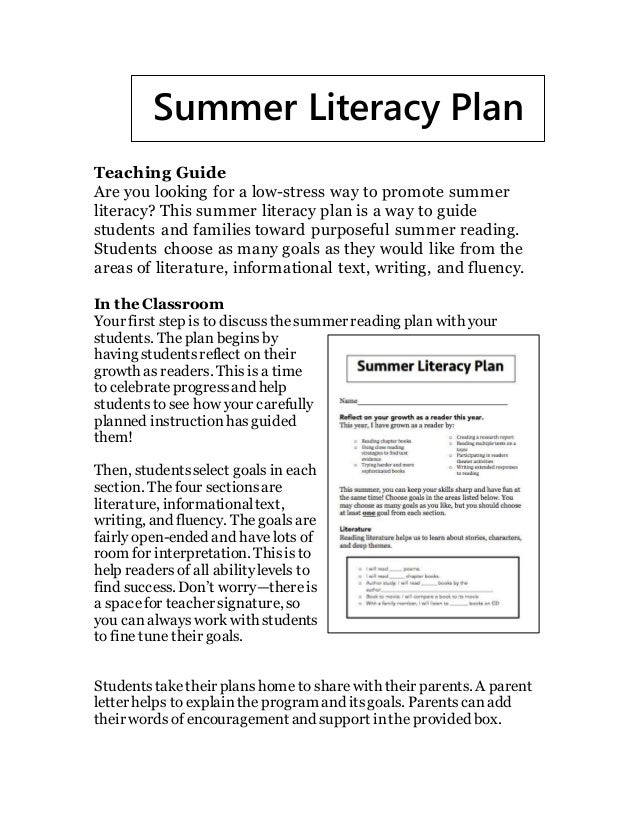 Teaching Guide Are you looking for a low-stress way to promote summer literacy? This summer literacy plan is a way to guid...