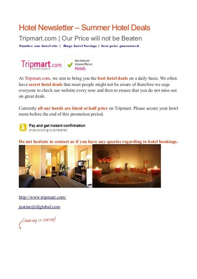 Hotel Newsletter Summer Hotel Deals
