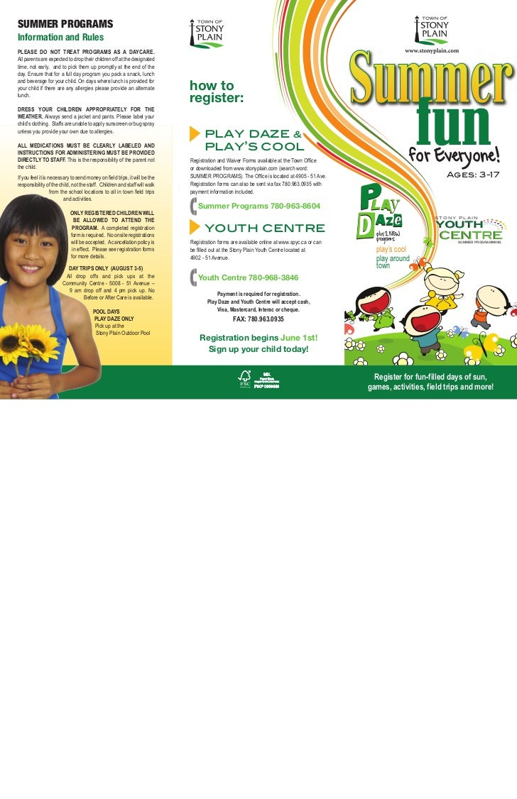 SUMMER PROGRAMSInformation and RulesPLEASE DO NOT TREAT PROGRAMS AS A DAYCARE.                                            ...