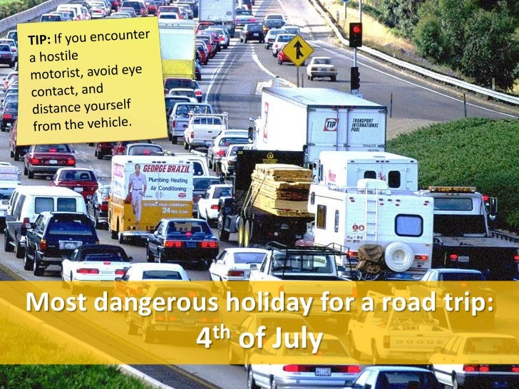Most dangerous holiday for a road trip:              4th of July