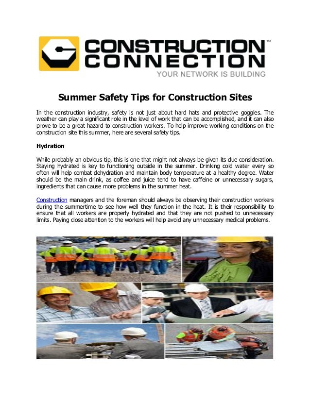 Summer safety tips for construction sites for Construction tips
